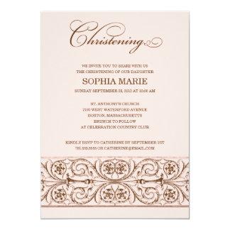 "VINTAGE ELEGANCE  |  CHRISTENING INVITATION 5"" X 7"" INVITATION CARD"
