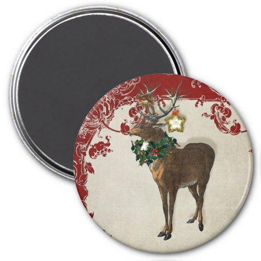 Vintage Elegance Christmas Deer Antlers Damask