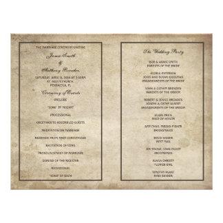 Vintage Elegance Distressed Paper Wedding Program 21.5 Cm X 28 Cm Flyer