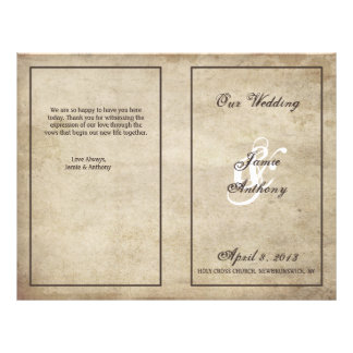 Vintage Elegance Distressed Wedding Program 21.5 Cm X 28 Cm Flyer