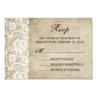 "Vintage Elegance Ribbon on Lace Wedding RSVP card 3.5"" X 5"" Invitation Card"