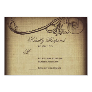 Vintage Elegance Rustic Wedding RSVP Cards 9 Cm X 13 Cm Invitation Card