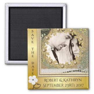 Vintage Elegance Save The Date Wedding Square Magnet