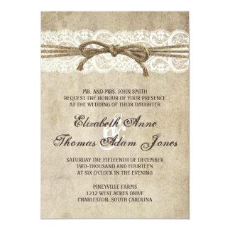 """Vintage Elegance Twine on Lace Wedding Invitation 5"""" X 7"""" Invitation Card"""