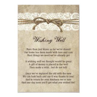 Vintage Elegance Twine on Lace Wishing Well Card 9 Cm X 13 Cm Invitation Card