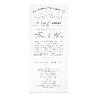 VINTAGE ELEGANCE   WEDDING PROGRAM RACK CARD