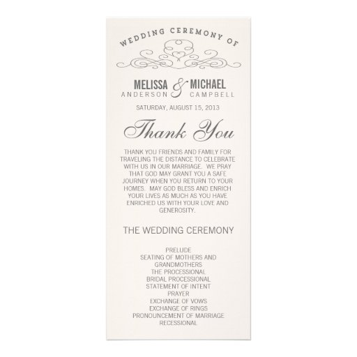 VINTAGE ELEGANCE | WEDDING PROGRAM CUSTOMIZED RACK CARD