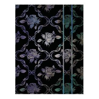 Vintage Elegant Black and Blue-Green Damask Roses Post Cards