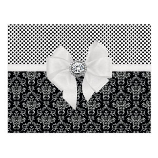 Vintage Elegant Black & White Damask Polka Dots Postcard