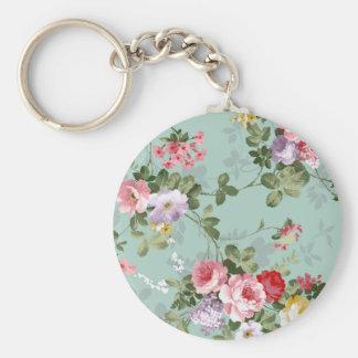 Vintage elegant blush pink red roses flowers basic round button key ring