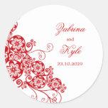 Vintage Elegant Boho Floral Paisley Wedding Round Sticker