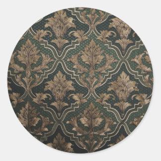 Vintage elegant  brown,olive,golden victorian chic round stickers