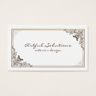 Vintage Elegant Brown Tan Scrolls Business Card
