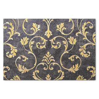 Vintage elegant chic black and gold floral damask tissue paper