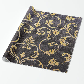 Vintage elegant chic black and gold floral damask wrapping paper