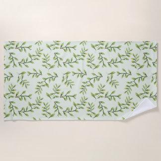 Vintage Elegant Cute Green Leaves Beach Towel