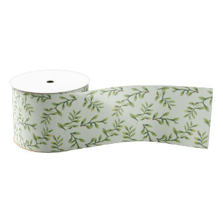 Vintage Elegant Cute Green Leaves Grosgrain Ribbon