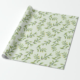 Vintage Elegant Cute Green Leaves Wrapping Paper