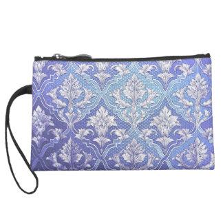 Vintage elegant damask silver white blue indigo wristlet purse