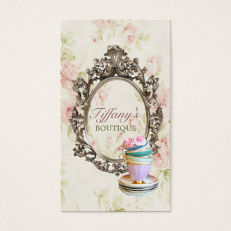 vintage elegant  english floral  teacups  fashion business card