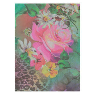 vintage elegant flowers cheetah Table Cloth