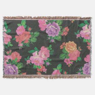 vintage elegant flowers floral throw blanket