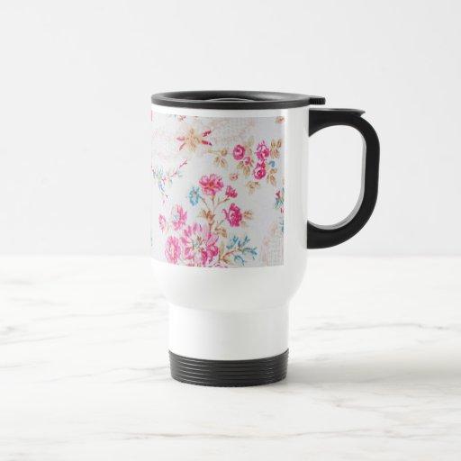Vintage Elegant Girly Pink Blue Floral Pattern Coffee Mugs