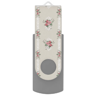 Vintage Elegant Girly Pink Roses on Grey USB Flash Drive