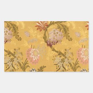Vintage elegant  gold victorian bird pattern rectangular sticker