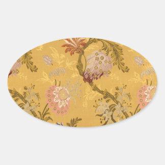 Vintage elegant gold victorian bird pattern oval sticker