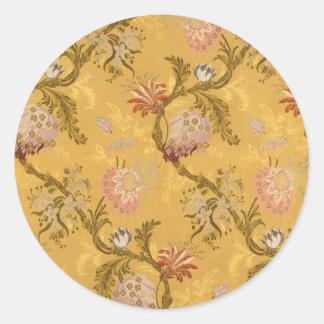 Vintage elegant  gold victorian bird pattern round sticker