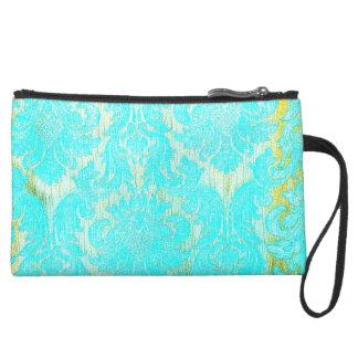 vintage elegant hipster gold turquoise damask chic wristlet purses