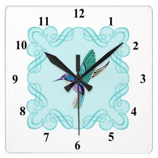 Vintage Elegant Hummingbird Square Wall Clock
