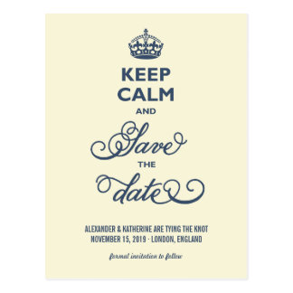 Vintage Elegant Keep Calm And Save The Date Funny Postcard