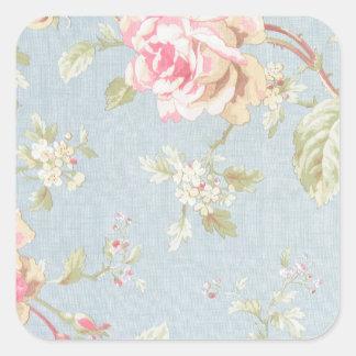 vintage elegant , light blue, pink, roses pattern square sticker