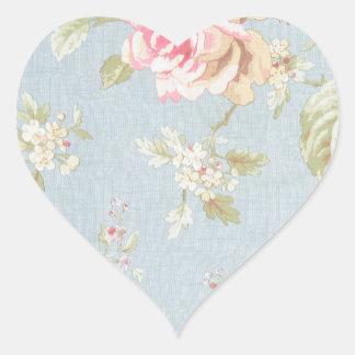 vintage elegant , light blue, pink, roses pattern heart stickers
