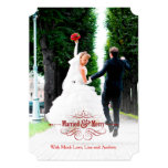 Vintage Elegant Married and Merry Holiday Card Custom Announcements
