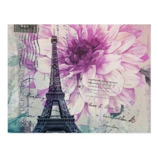 vintage elegant paris eiffel tower floral postcard