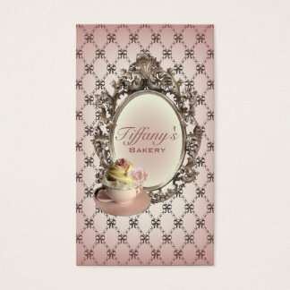 vintage elegant pink cupcakes fashion bakery business card