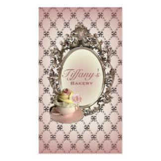 vintage elegant pink cupcakes fashion bakery pack of standard business cards