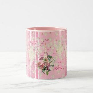Vintage Elegant Pink Paris Eiffel Tower Chandelier Two-Tone Coffee Mug