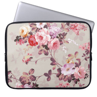 Vintage Elegant Pink Red Purple Roses Pattern Laptop Sleeve