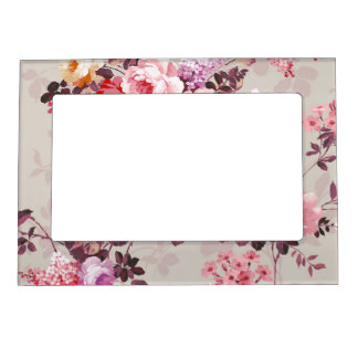Vintage Elegant Pink Red Purple Roses Pattern Magnetic Frame