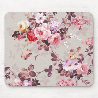 Vintage Elegant Pink Red Purple Roses Pattern Mouse Mat