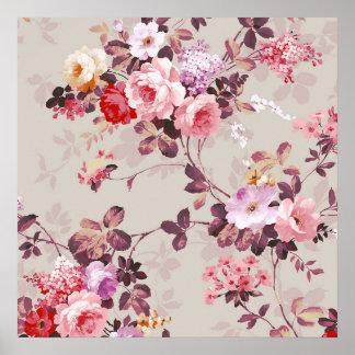Vintage Elegant Pink Red Purple Roses Pattern Poster