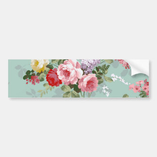 Vintage Elegant Pink Red Roses Pattern Car Bumper Sticker
