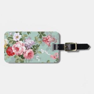 Vintage Elegant Pink Red Roses Pattern Luggage Tag