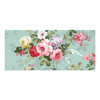 Vintage Elegant Pink Red Roses Pattern Custom Rack Card