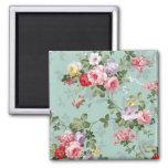 Vintage Elegant Pink Red Roses Pattern Square Magnet