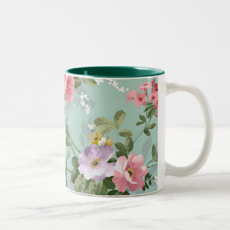 Vintage Elegant Pink Red Roses Pattern Two-Tone Mug